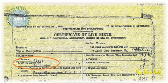 Paranaque Rizal birth certificate